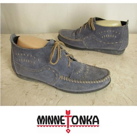 Minnetonka Shoes Moccasin Booties Womens 85 Blue Suede Poshmark